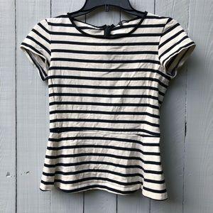 Theory peplum style top stripes black cream sz 0